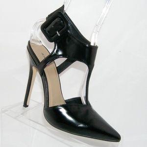 Justfab 'Cyndal' black man made buckle heel 8.5